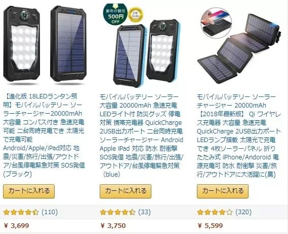 【Chargi-Q mini(チャージックミニ)ソーラーチャージャー モバイルバッテリー 】類似品との比較