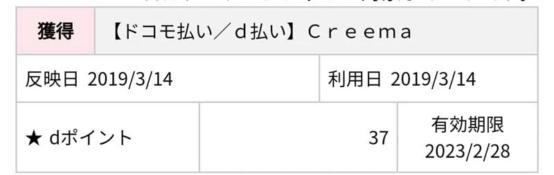 【d払い】ポイントの付与