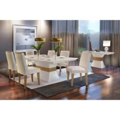 Mesa de Jantar 6 cadeiras Agatha 180cm Rufato