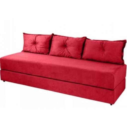 Sofa Cama Bicama 3 Lugares Casal Sofanete Suede vermelho