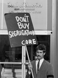 Dec 1, 1963, Berkeley, Ca, Jack Weinberg CORE picket of Bank of America, photo by Harvey Richards