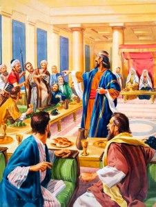 Exámen del rey en el banquete de bodas.