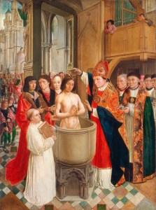 Bautizo católico del rey Clodoveo de los francos.
