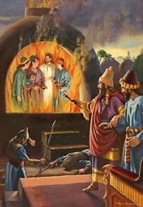 """Nabucodonosor se espantó: """"Veo cuatro hombres sueltos, que se pasean en medio del fuego sin sufrir ningún daño; y el aspecto del cuarto es semejante a un hijo de los dioses."""""""