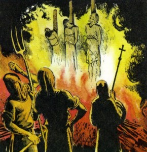 Cristianos protestantes en la hoguera