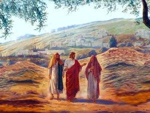 Jesús camina de Jerusalén a Emmaús con dos discípulos que no le reconocen.