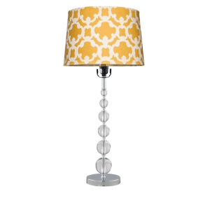 acrylic stacked ball lamp with flocked lamp shade in sunnyside gold