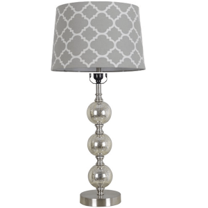 mercury glass stacked ball lamp with gray flocked ogee shade