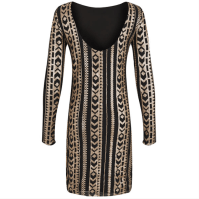 VILA Beaded Deep Back Gold Dress Back, $41.31