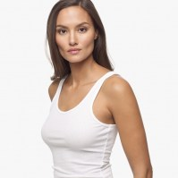 James Perse Ribbed Daily Tank White Side, $45