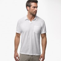 James Perse Cotton Linen Pocket Polo Shirt Silver, $135