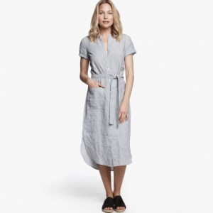 James Perse Linen Stripe Shirt Dress, $265