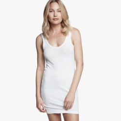 James Perse Long Skinny Tank Dress White, $85