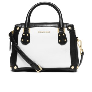 Michael Kors Taryn Small Satchel White with Contrast Black, $413.25