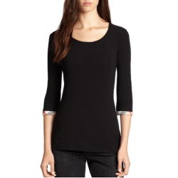 Burberry Cotton Check Cuff Top Black, $125
