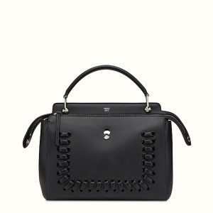 Fendi Dotcom Lace-Up Leather Satchel Black, $2,900