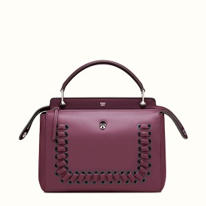 Fendi Dotcom Lace-Up Leather Satchel Bordeaux, $2,900