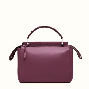 Fendi Dotcom Lace-Up Leather Satchel Bordeaux Back, $2,900