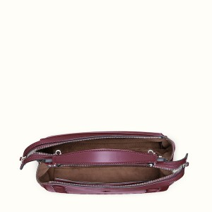 Fendi Dotcom Lace-Up Leather Satchel Bordeaux Open, $2,900