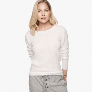 James Perse Cashmere Thermal Crew Neck White, $350