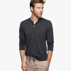 James Perse Cotton Cashmere Henley Heather Navy, $135