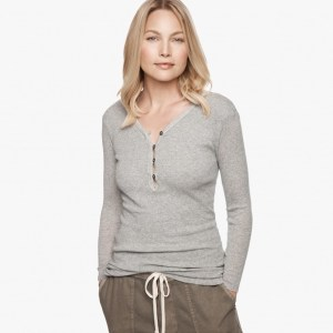 James Perse Cotton Cashmere Rib Henley Heather Grey, $165