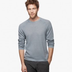 James Perse Cotton Cashmere Thermal Raglan Dust Storm, $295
