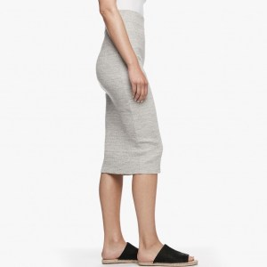 James Perse Melange Rib Pencil Skirt Heather Grey Side, $195