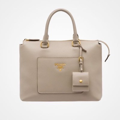 Prada Daino Zip Leather Tote Grey $1,510