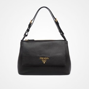 Prada Diano Leather Flap Shoulder Bag Black $2,090