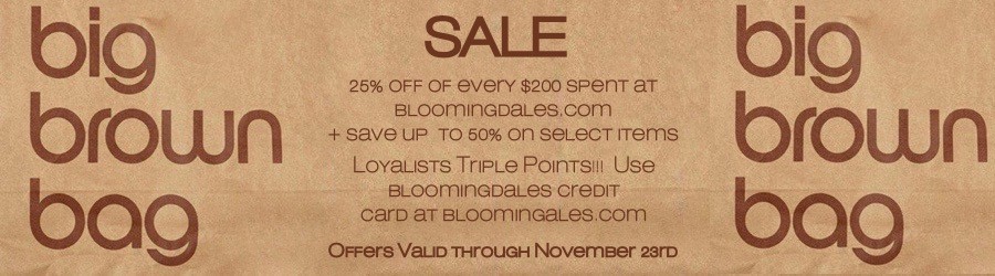 Bloomingdales Big Brown Bag Sale