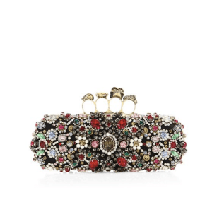 Alexander McQueen Long Flower Crystal Knuckle Box Clutch $3,695