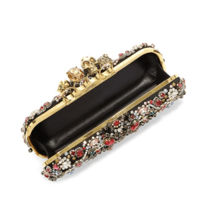 Alexander McQueen Long Flower Crystal Knuckle Box Clutch Open $3,695