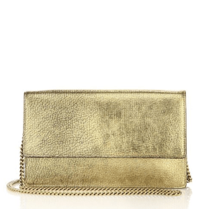 Alexander McQueen Metallic Leather Chain Flap Wallet $975