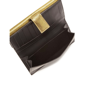 Alexander McQueen Metallic Leather Chain Flap Wallet Open $975