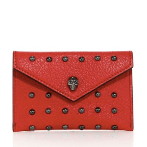 Alexander McQueen Skull Studded Leather Envelope Card Case $245