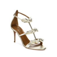 Aquazzura St. Tropez Tied Metallic Leather Sandals, $750