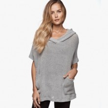 James Perse Knit Mesh Hooded Pullover Heather Grey $250