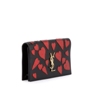 Saint Laurent Kate Monogram Heart Leather Clutch Side $1,550