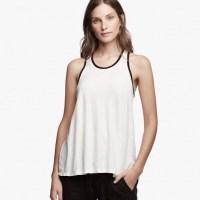 James Perse Contrast Ringer Tank Ice Cream:Black $95
