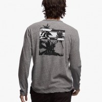 James Perse Recylced Knit Graphic Crew Charcoal:Black $145