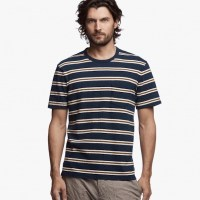 James Perse Retro Stripe Pocket Tee Thames Blue:Pollen $85