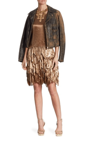Ralph Lauren Collection Dwight Leather Jacket $3,490; Dara Metallic Dress $3,490; Goldtone Disc Necklace $1,600