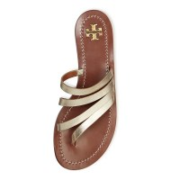 Tory Burch Patos Metallic Leather Thong Top $195