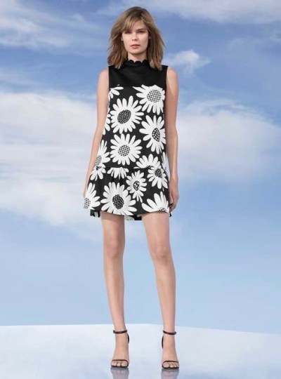 Victoria Beckham Daisy Drop Waist Scallop Trim Dress $40