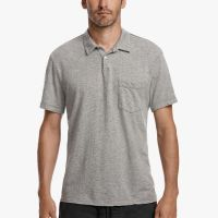 James Perse Contrast Stitch Polo Heather Grey $135