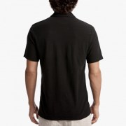James Perse Cotton Linen Zip-Front Polo Back Carbon $165