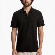 James Perse Cotton Linen Zip-Front Polo Carbon $165