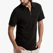 James Perse Cotton Linen Zip-Front Polo Carbon Side $165