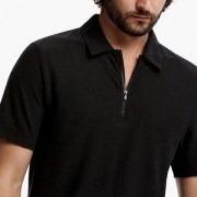 James Perse Cotton Linen Zip-Front Polo Closeup Carbon $165